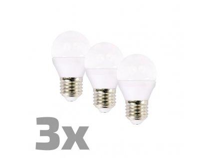 WZ432-3 ECOLUX LED žárovka 3-pack , miniglobe, 6W, E27, 3000K, 450lm, 3ks