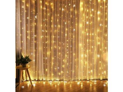 Solight LED vánoční závěs okenní, stříbrný, 300x mini LED, časovač, 8 funkcí, USB