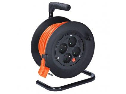 Solight prodlužovací přívod na bubnu, 4 zásuvky, 15m, oranžový kabel, 3x 1,0mm2