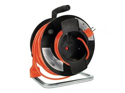 Solight prodlužovací přívod na bubnu, 1 zásuvka, 50m, oranžový kabel, 3x 1,5mm2