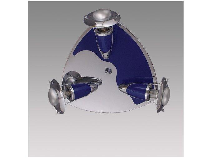 Prezent Stropní svítidlo ZEUS 3xE14/R50/40W, CHROME/BLUE 340