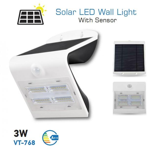 V-TAC solární LED nástěnné svítidlo VT-768 IP65 - bílé