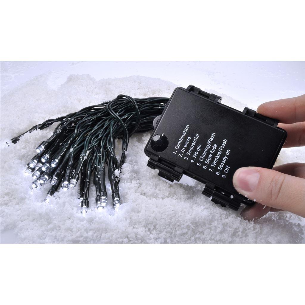 1V53-WW Solight LED venkovní vánoční řetěz, 50LED, 5m, 3m přívod, 8 funkcí, IP44, 3x AA, teplá bílá