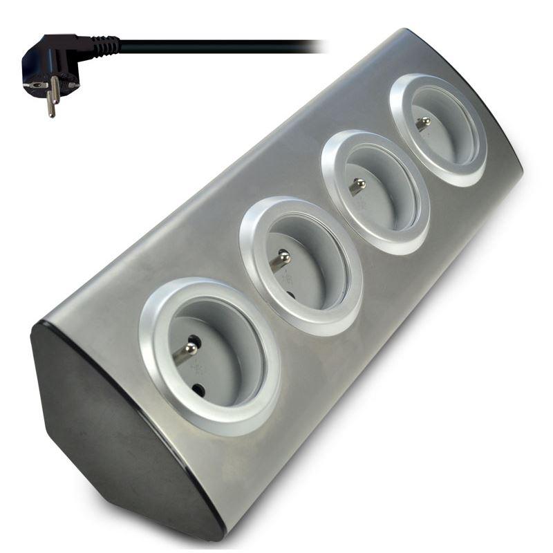 PP103 Solight prodlužovací přívod, 4 zásuvky, stříbrný, 1,5m, rohový design