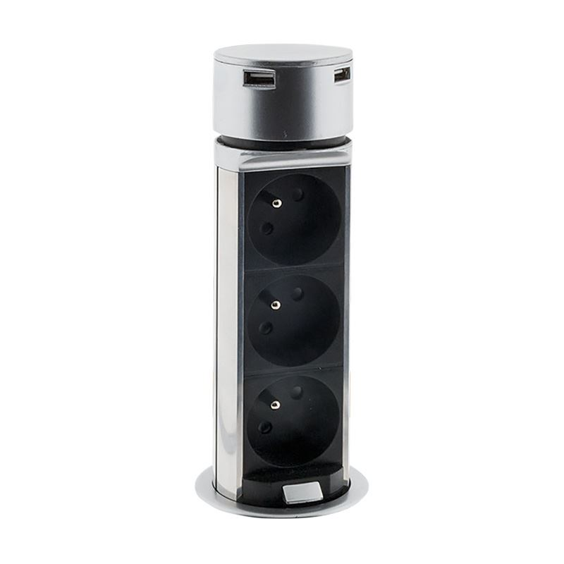 PP125 Solight USB výsuvný blok zásuvek, 3 zásuvky, plast, kruhový tvar, prodlužovací přívod 1,5m, 3 x 1mm2, stříbrný