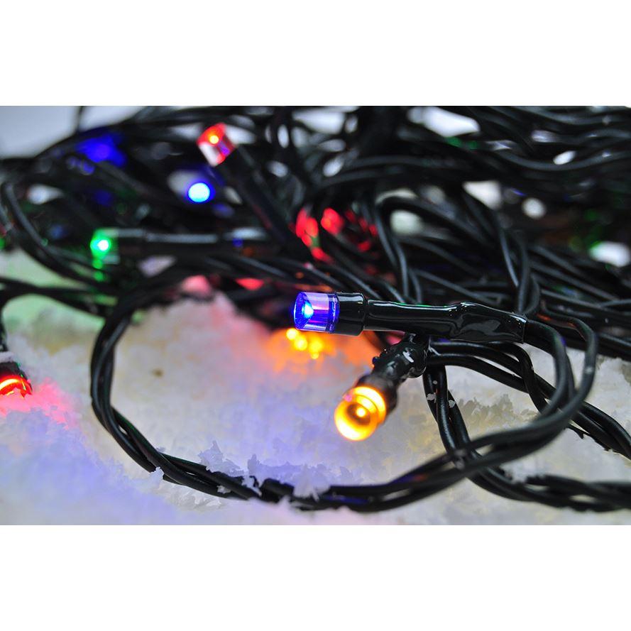1V101-M Solight LED venkovní vánoční řetěz, 100 LED, 10m, přívod 3m, 8 funkcí, časovač, IP44, víceba