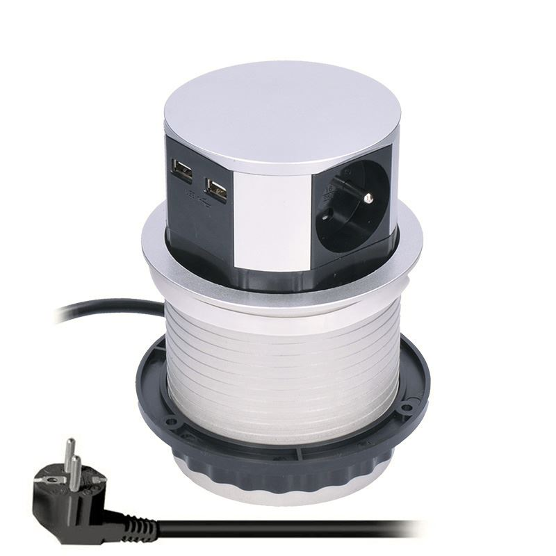 PP100USB Solight výsuvný blok zásuvek, 3 zásuvky, 2x USB, kruhový tvar nízký, prodlužovací přívod 1,5m, 3 x 1mm2, stříbrný