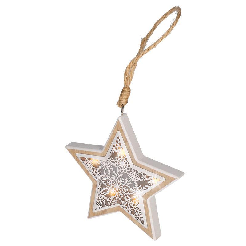 1V45-S Solight LED vánoční hvězda, dřevěný dekor, 6LED, teplá bílá, 2x AAA Solight