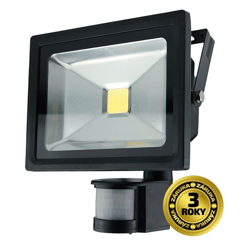 WM-20WS-E Solight LED venkovní reflektor, 20W, 1600lm, AC 230V, černá, se senzorem