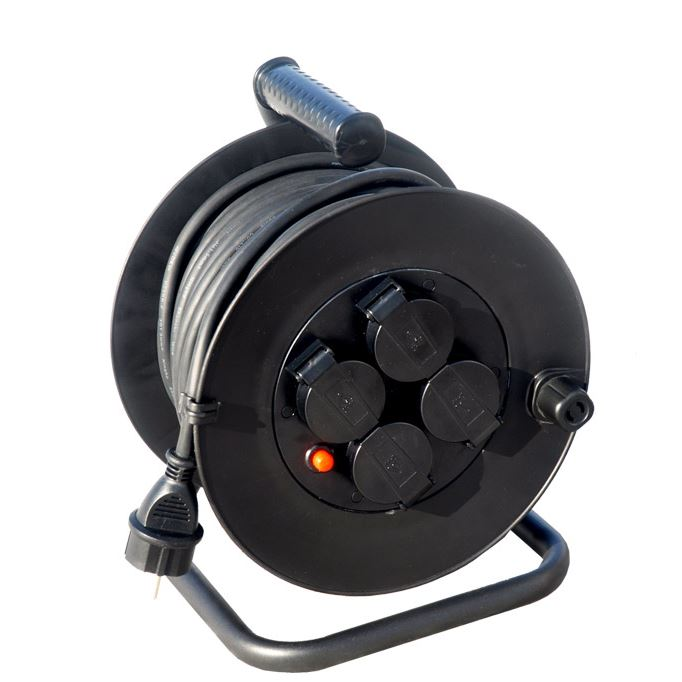 PB34 Solight prodlužovací přívod na bubnu, venkovní, 4 zásuvky, černý, 50m