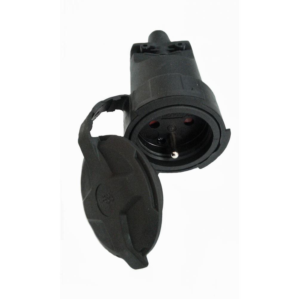 P79 Solight zásuvka gumová, do vlhka a prachu, přímá, IP65, černá