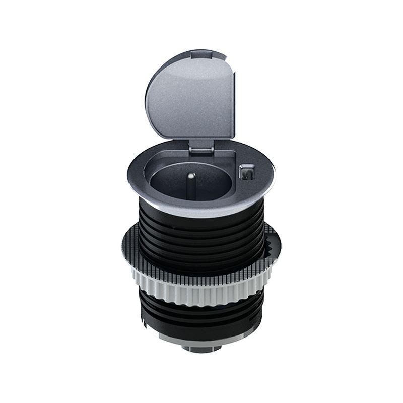PP122 Solight USB vestavná zásuvka s víčkem, 1 zásuvka, plast, kruhový tvar, prodlužovací přívod 1,5m, 3x 1mm2, USB 2100mA, stříbrná