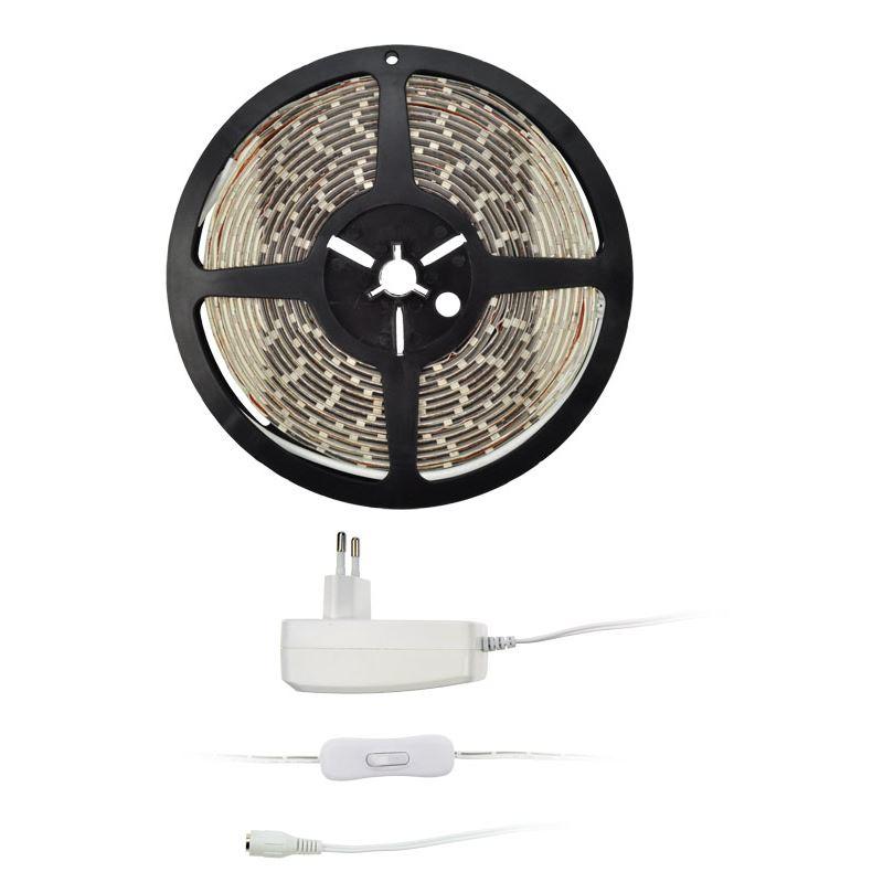 WM50-65T Solight LED světelný pás s testrem, 5m, sada s 12V adaptérem, 4,8W/m, IP65, studená bílá