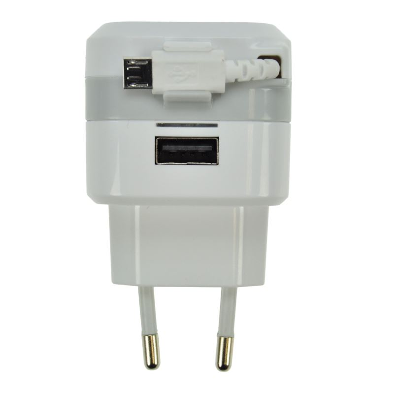 DC39 Solight USB nabíjecí adaptér, navíjecí kabel micro USB + 1x USB, 2400mA max., AC 230V, bílošedý