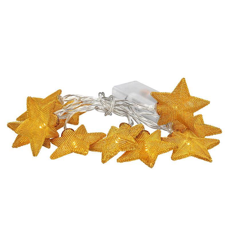 1V212 Solight LED řetěz vánoční hvězdy zlaté, 10LED řetěz, 1m, zlatá barva, 2x AA, IP20 Solight