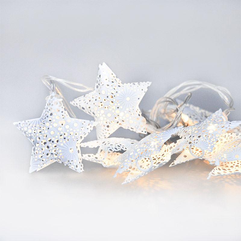 1V224 Solight LED řetěz vánoční hvězdy, kovové, bílé, 10LED, 1m, 2x AA, IP20 Solight