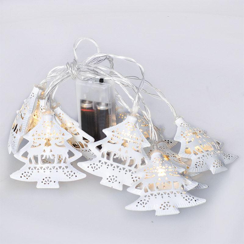 1V225 Solight LED řetěz vánoční stromky, kovové, bílé, 10LED, 1m, 2x AA, IP20