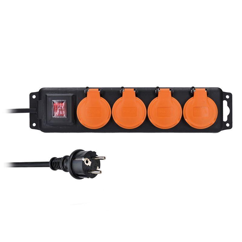 PP333 Solight prodlužovací přívod IP44, 4 zásuvky, gumový kabel, vypínač, venkovní, 5m