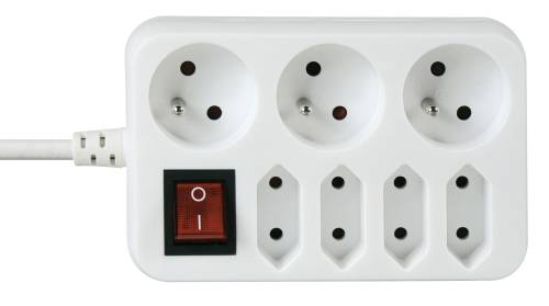 EMOS prodlužovací šňůra 3+4 zásuvky, 1,5m bez vypínače