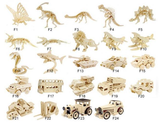 3D dřevěné puzzle - 24 variant