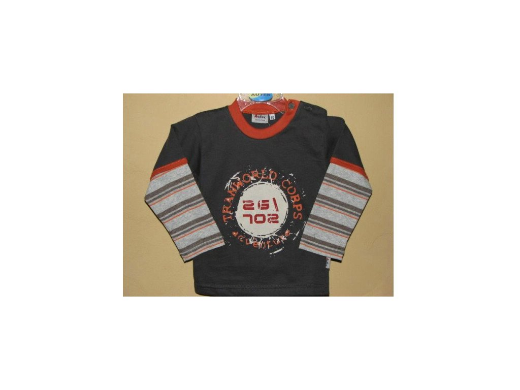 detske triko s dlouhym rukavem tmave sede