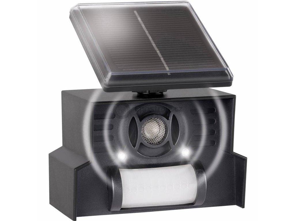 Plašič ptáků Gardigo Solar 360° | multifrekvenční | dosah PIR čidla 7 m| výstražné LED světlo