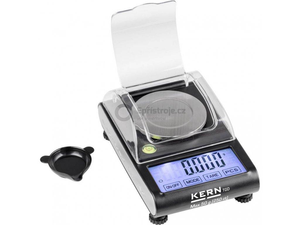 Citlivá kapesní váha Kern TGD 50-3C   max. váživost 50 g, dělení 0.001 g