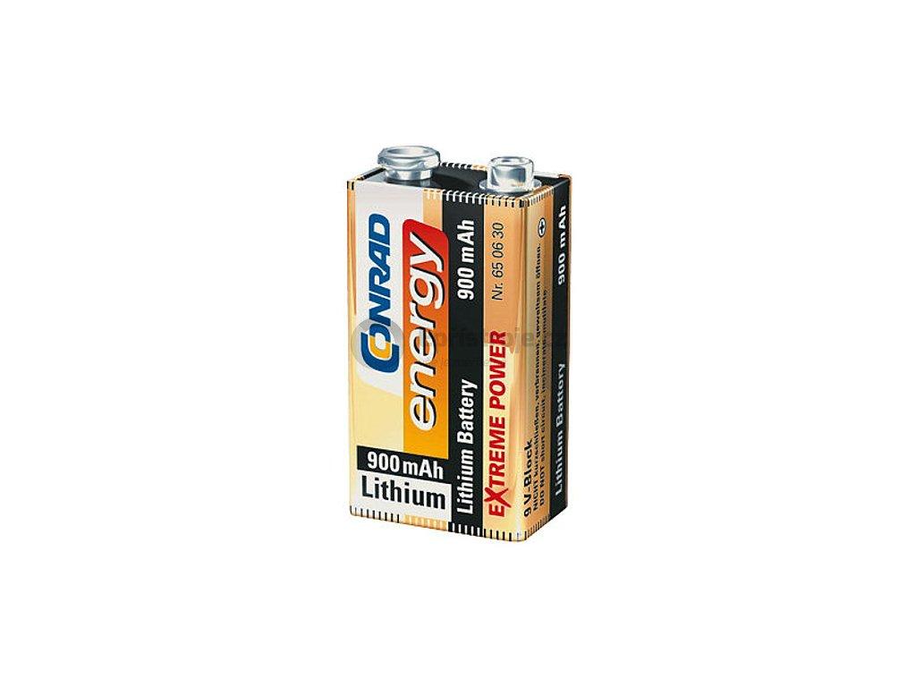 Lithiová destičková baterie 9 V - 900 mAh