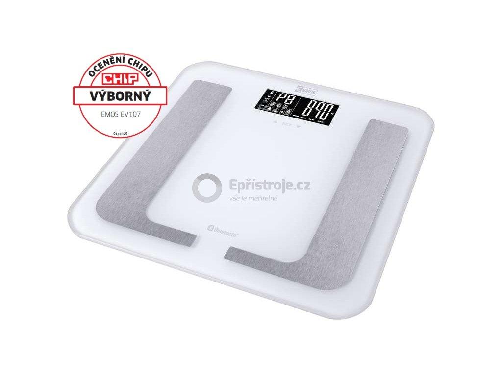 Chytrá digitální osobní váha Emos EV107; podpora Bluetooth; aplikace pro Android a iOS