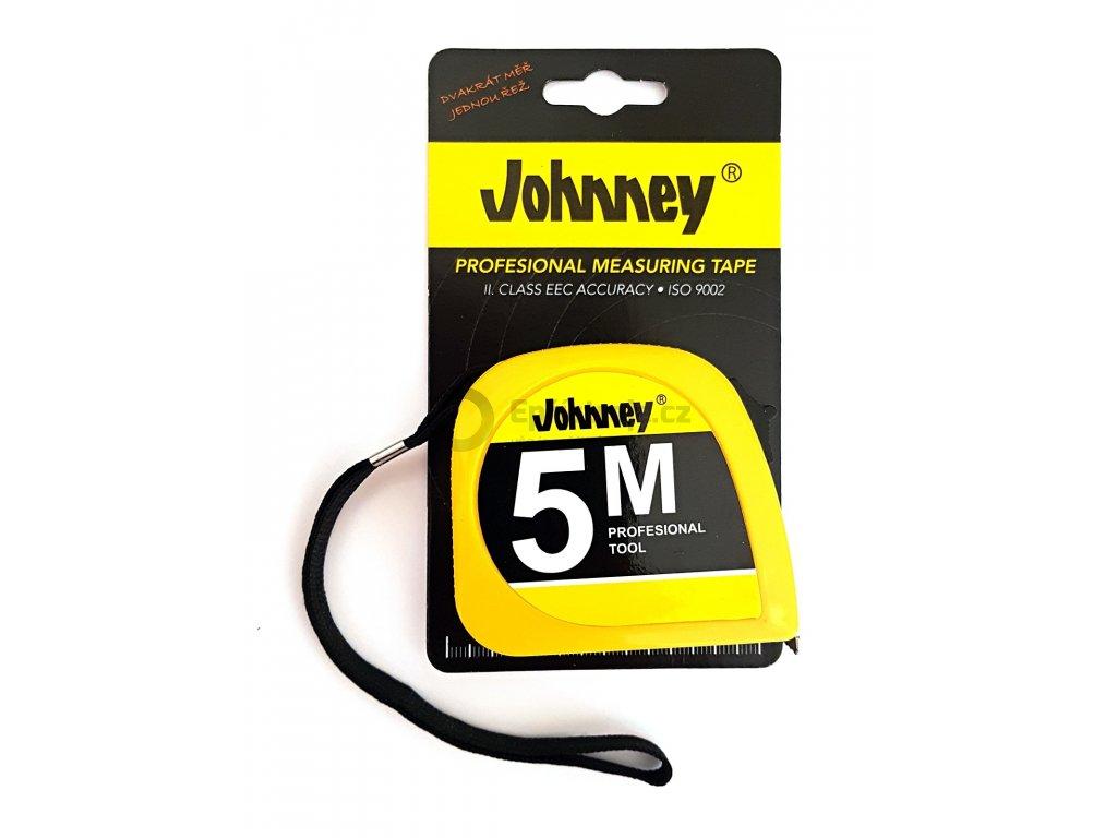 Svinovací metr JOHNEY 5m; mechanická brzda, ocelový klip; 8042
