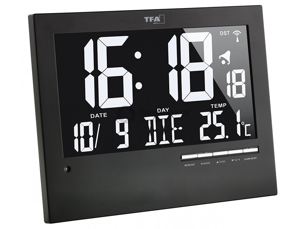 Inverzní nástěnné DCF hodiny s podsvícením TFA 60.4508, 185 x 230 x 31 mm, černá