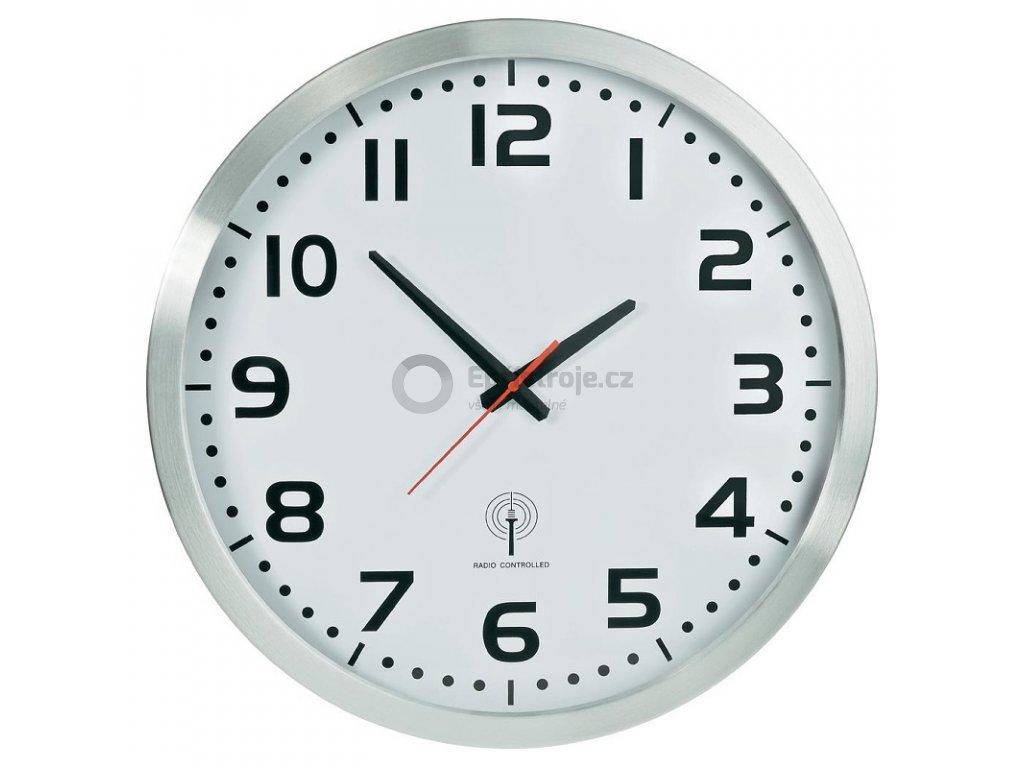 Analogové nástěnné DCF hodiny, průměr 50 cm, hliník