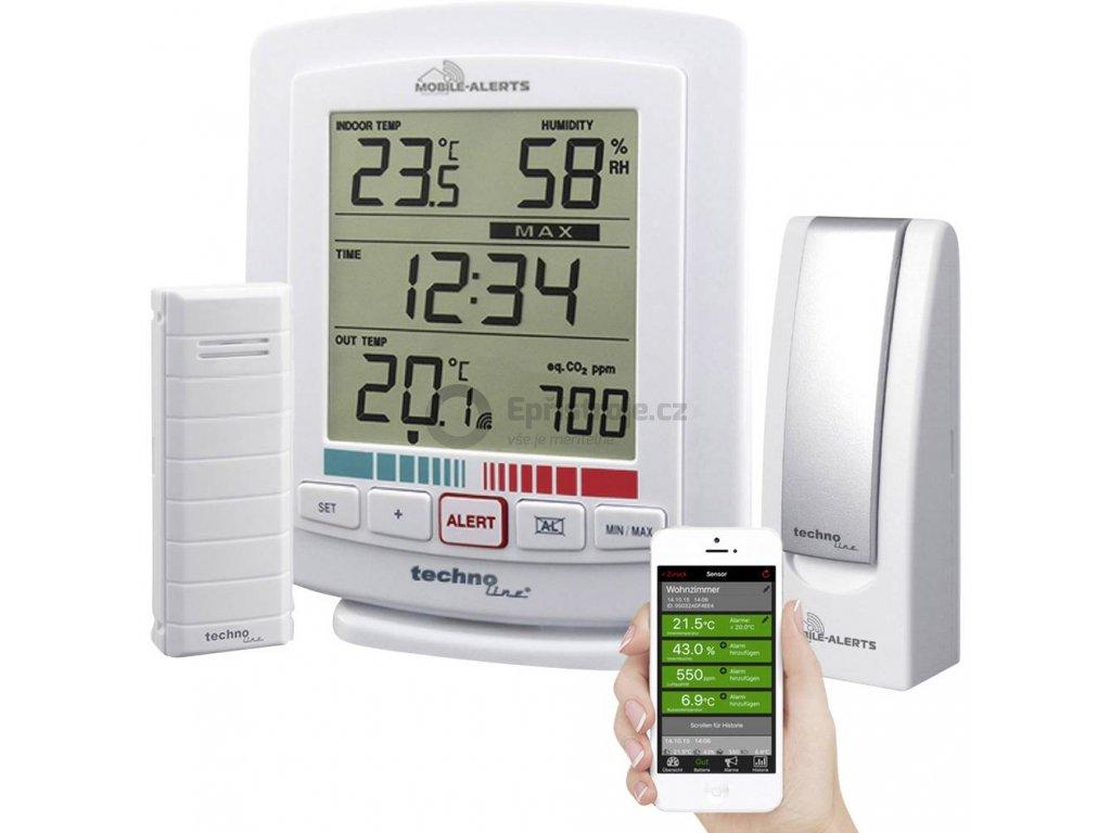 Bezdrátový teploměr a vlhkoměr se senzorem kvality ovzduší Techno Line MA 10005 Mobile Alerts