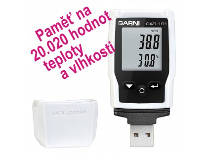 GAR 191 | USB datalogger pro měření teploty a relativní vlhkosti vzduchu s displejem