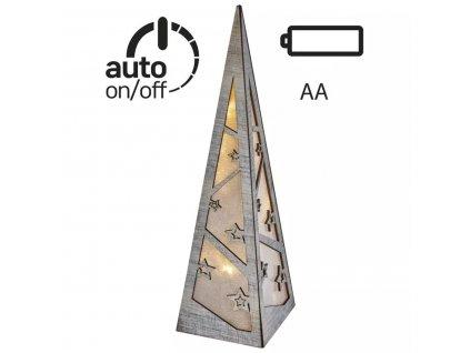 LED pyramida | 36cm | 2× AA | teplá bílá | časovač | ZY2335