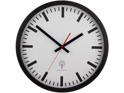 Analogové DCF nástěnné nádražní hodiny EUROTIME 56862 | vnější Ø 40 cm | černá