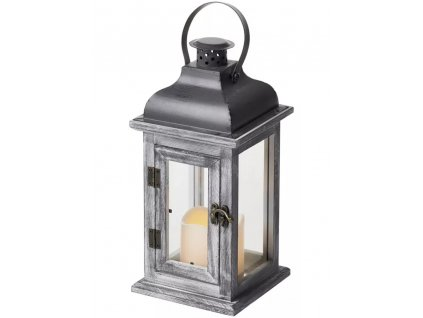 LED dekorace – lucerna dřevěná | 3x AAA | šedá, vintage, časovač | ZY2344
