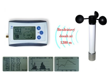 Bezdrátový anemometr (měřič rychlosti větru) s dlouhým dosahem WL12X-WS