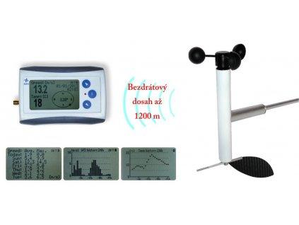 Bezdrátový anemometr (měřič rychlosti a směru větru) s dlouhým dosahem WL12X-WSD