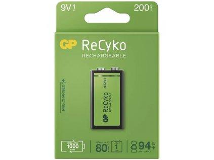 Nabíjecí baterie GP Recyko+ 6F22 (9V), 200 mAh, krabička | B0852