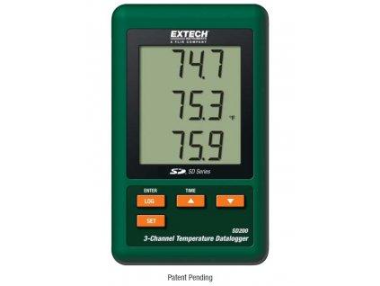3-kanálový teplotní datalogger Extech SD200, ukládání dat na SD kartu, termočlánek K