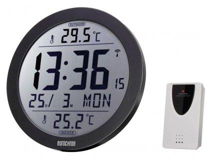 DCF nástěnné hodiny Eurochron EFW 4002, vnější Ø 210 mm, černá