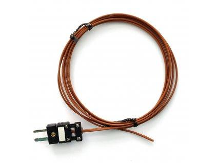 """Termočlánek """"J"""" (Fe-CuNi) s celo-teflonovou izolací; konektor - 2 metry"""