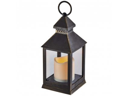 LED dekorace – lucerna antik černá, 3xAAA, blik. svět., čas. |ZY2115