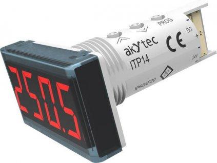 Univerzální panelový měřič Akytec, ITP14, 4-20mA, 0-10 V, červená