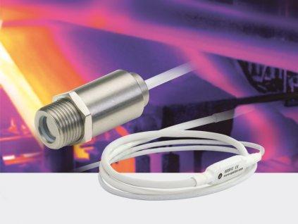 Miniaturní infračervený teploměr do +1030°C, optika 15:1, výstup 4..20 mA