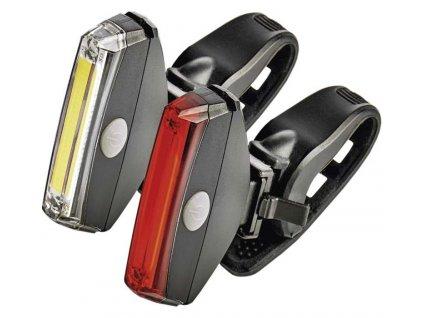 Svítilna na kolo LED COB, SET přední + zadní | P3922