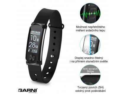 ROZBALENO - Fitness náramek s měřením tepové frekvence, GARNI Q-68HR
