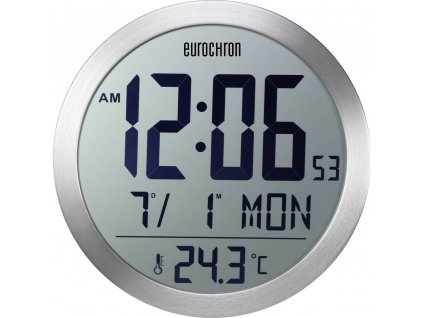 DCF nástěnné hodiny Eurochron EFW 5001, vnější Ø 394 mm, stříbrná
