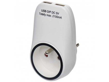 Mezizásuvka Emos P0071 s USB nabíjením | 2x USB | 2100 mA